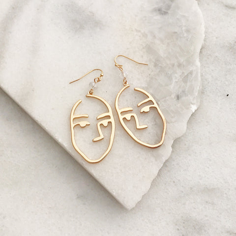 Abstract Face Earrings - Gold Tone
