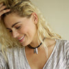 Crystal Leather Choker with Silver Feather Black