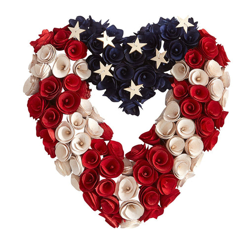 American Flag Wood Curl Heart Shaped Wreath