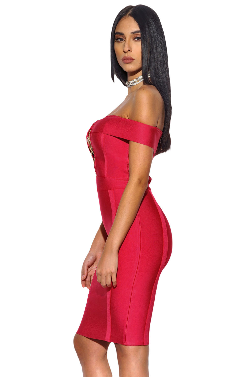 Maddie Red Bandage Dress - waist trainer, dress - waist trainer, swancoast.com ann chery,