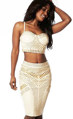 Glamour Two Piece Bandage Set - waist trainer, dress - waist trainer, swancoast.com ann chery,
