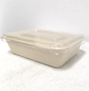 Unbleach Sugarcane Potato Tray With Plastic Lid 50s