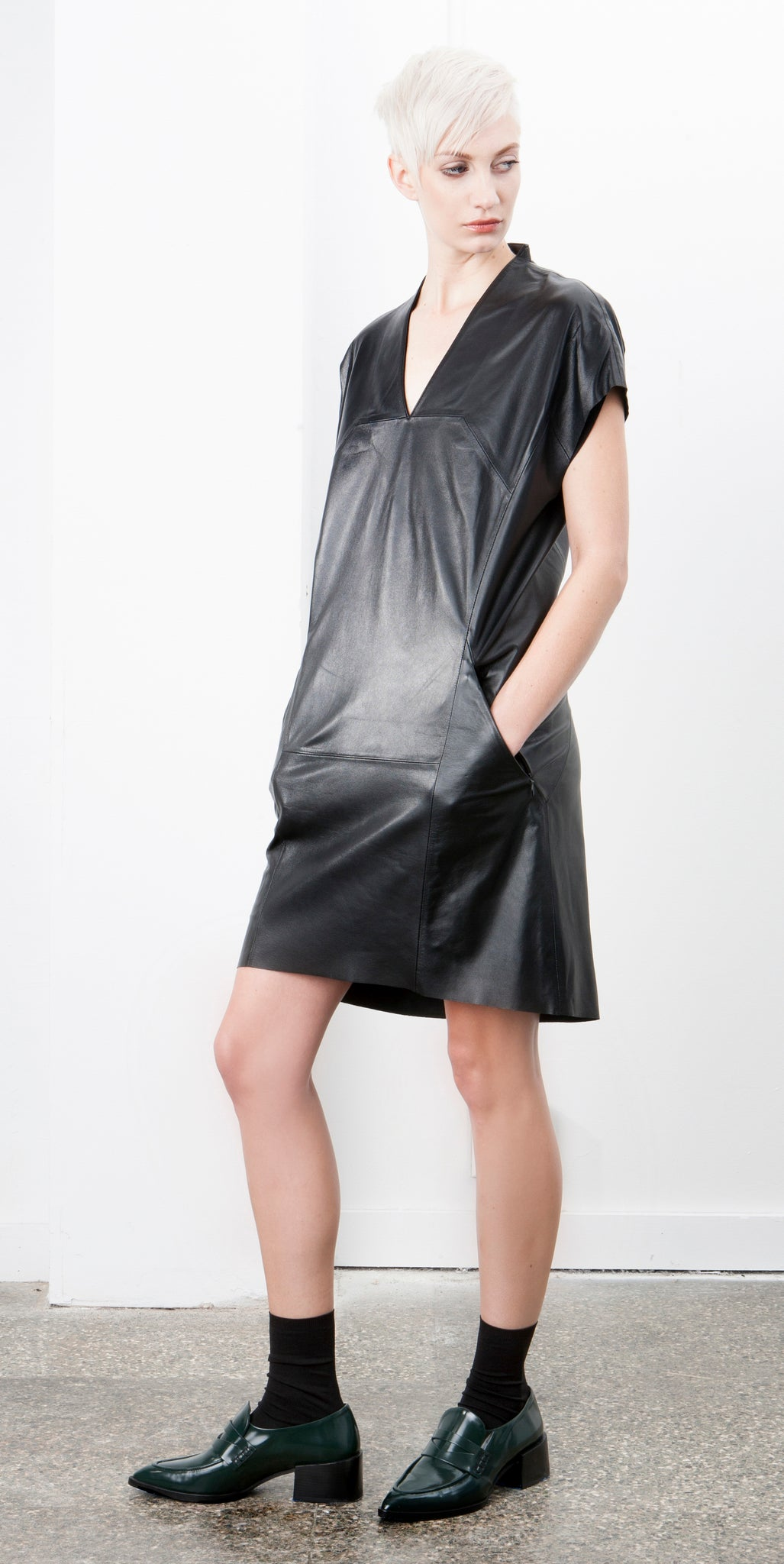 Geo Leather Dress