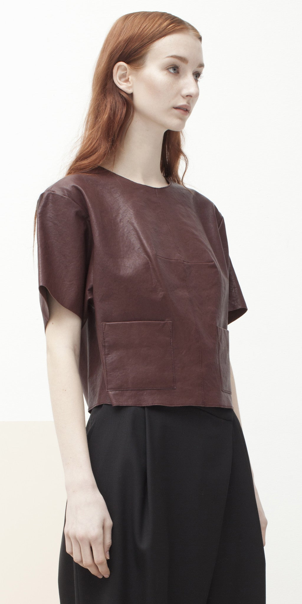 Cropped Leather T-Shirt