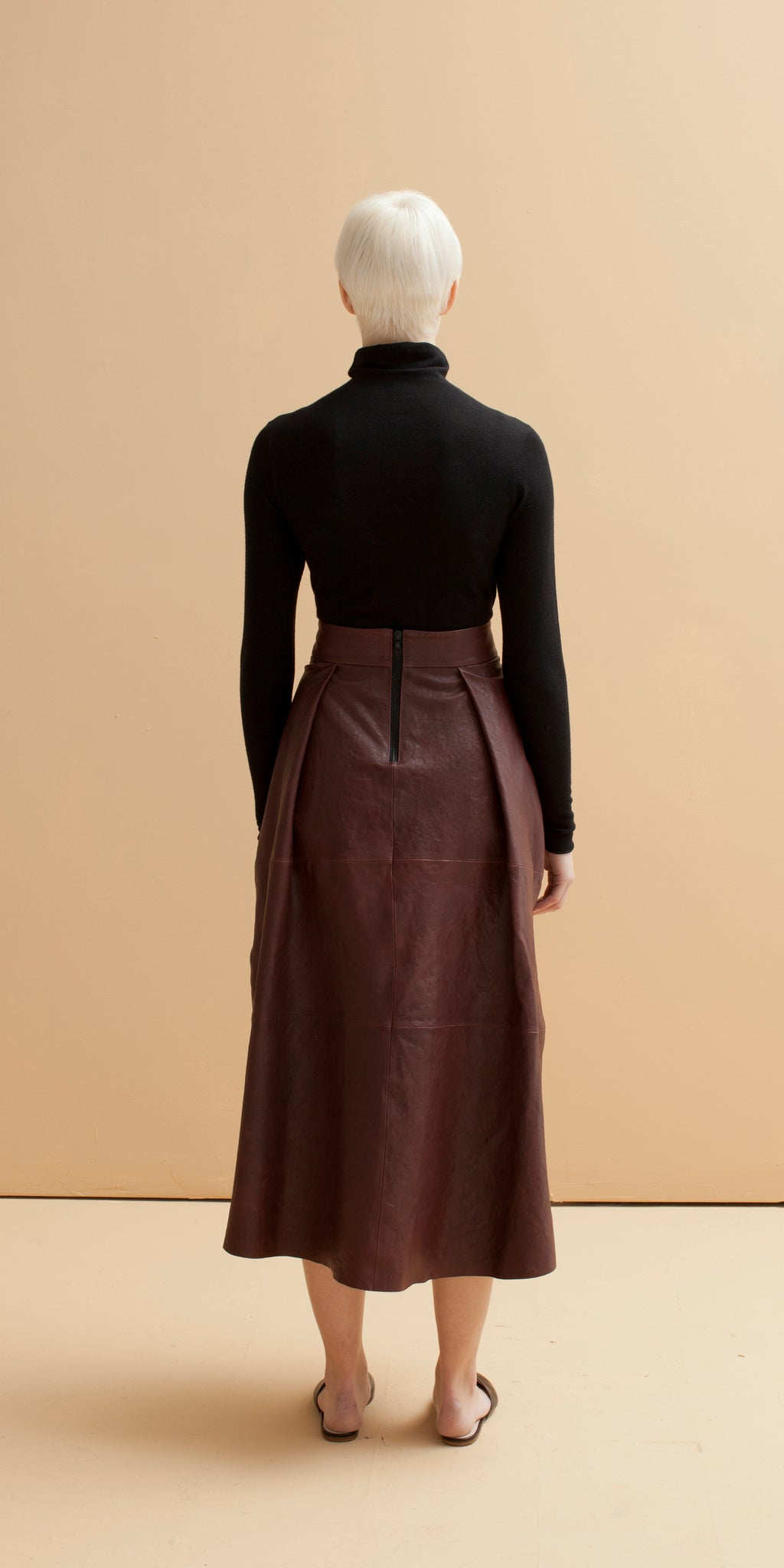 Plume Leather Skirt