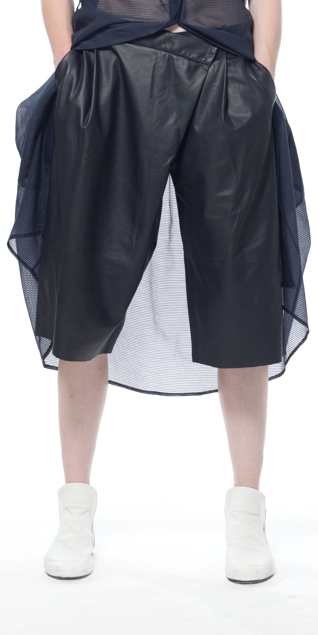 Geode Leather Long Shorts