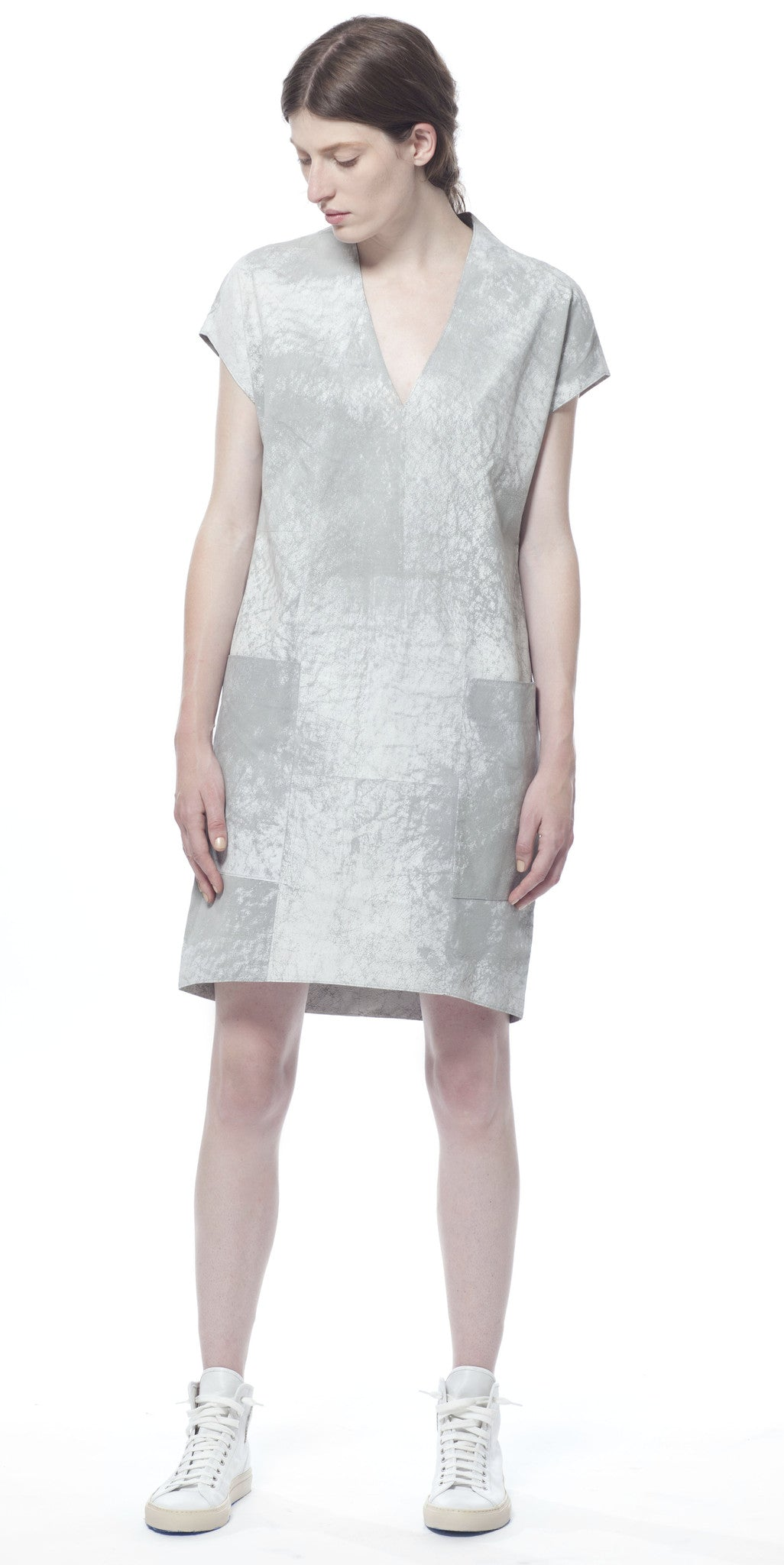 Polygon Leather Dress in Cloud Mist