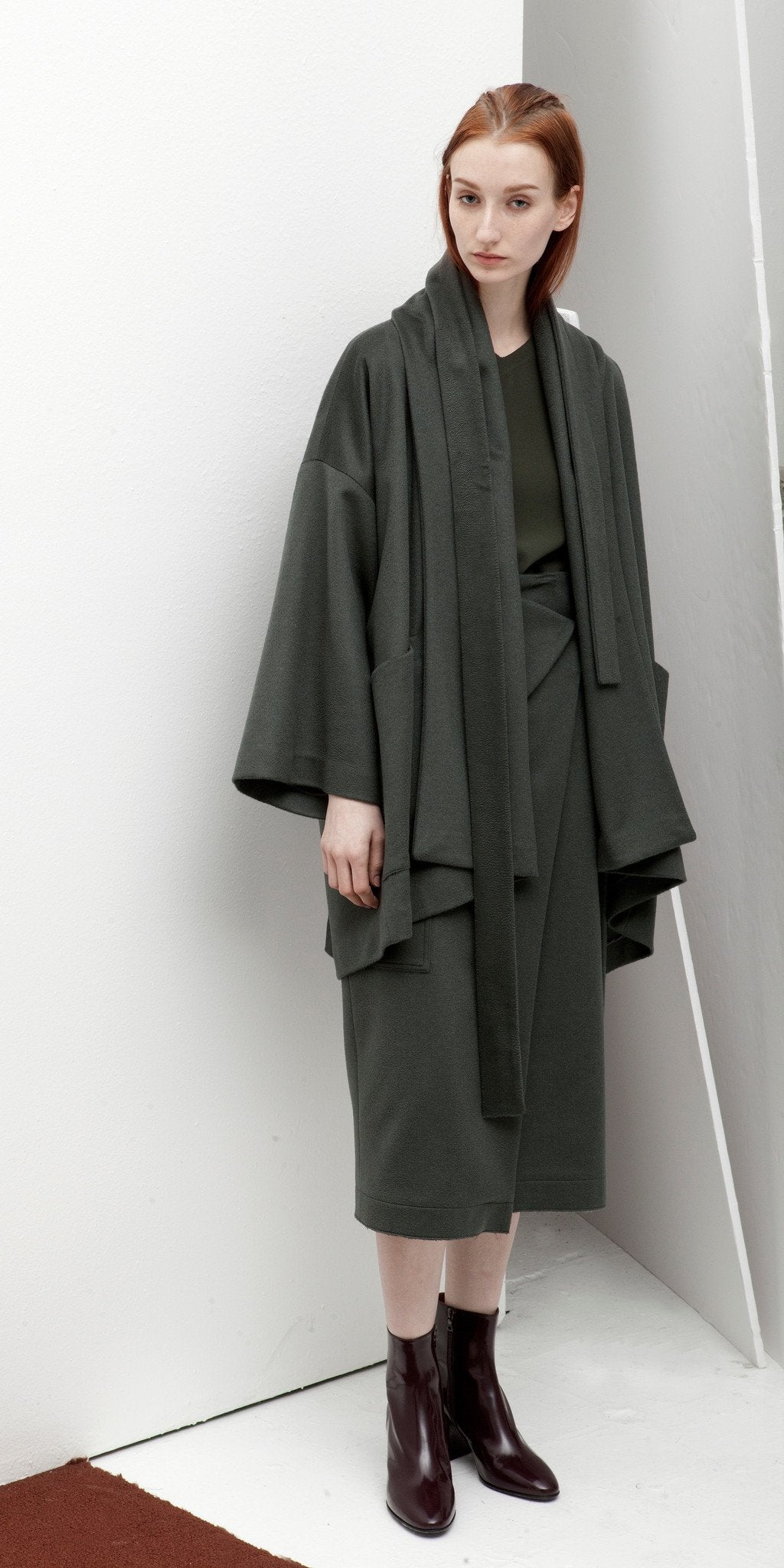 Reversible Kimono Belted Cashmere Poncho