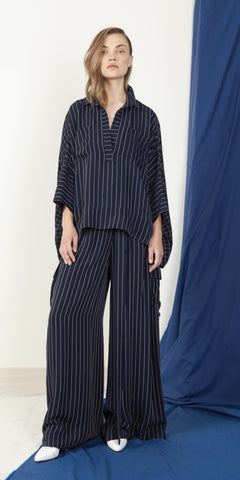 Néhmo High-Low Shirt in Stripe & Grid Combo