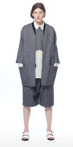 Agri Utility Bomber Coat in Denim