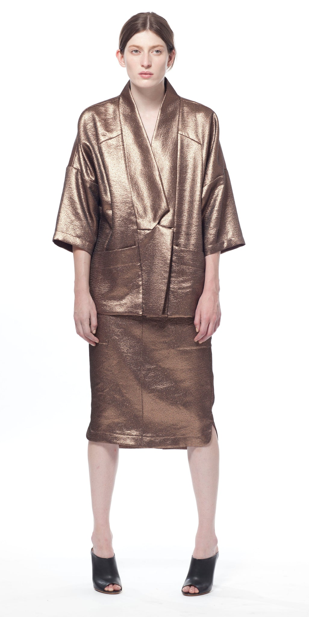 Metallic Uti Pocket Midi Skirt