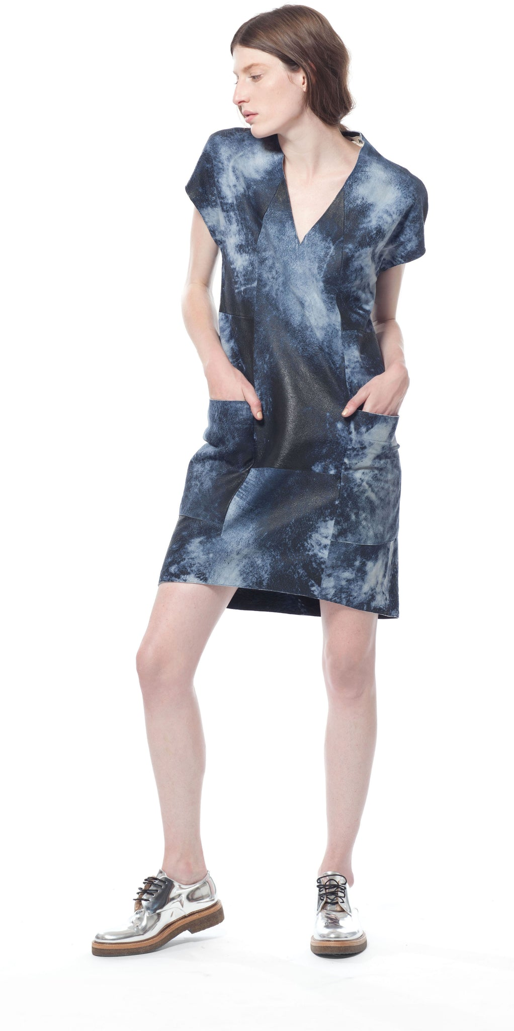 Polygon Leather Dress in Ocean Splash
