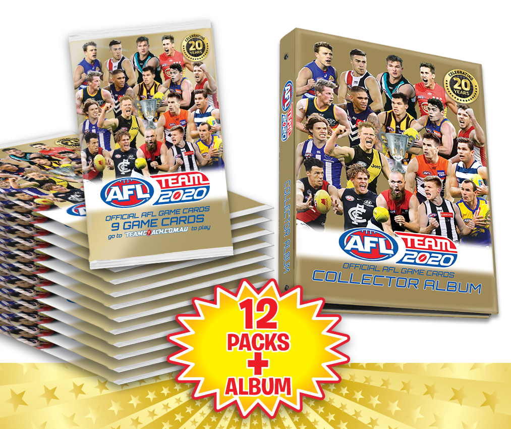 TEAMCOACH - AFL TEAM 2020 Collector Album + 12  Footy Game Cards Packs