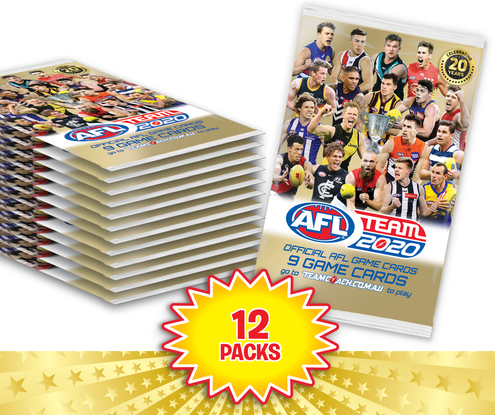 TEAMCOACH - AFL TEAM 2020 Footy Game Card Packs - 12 packs