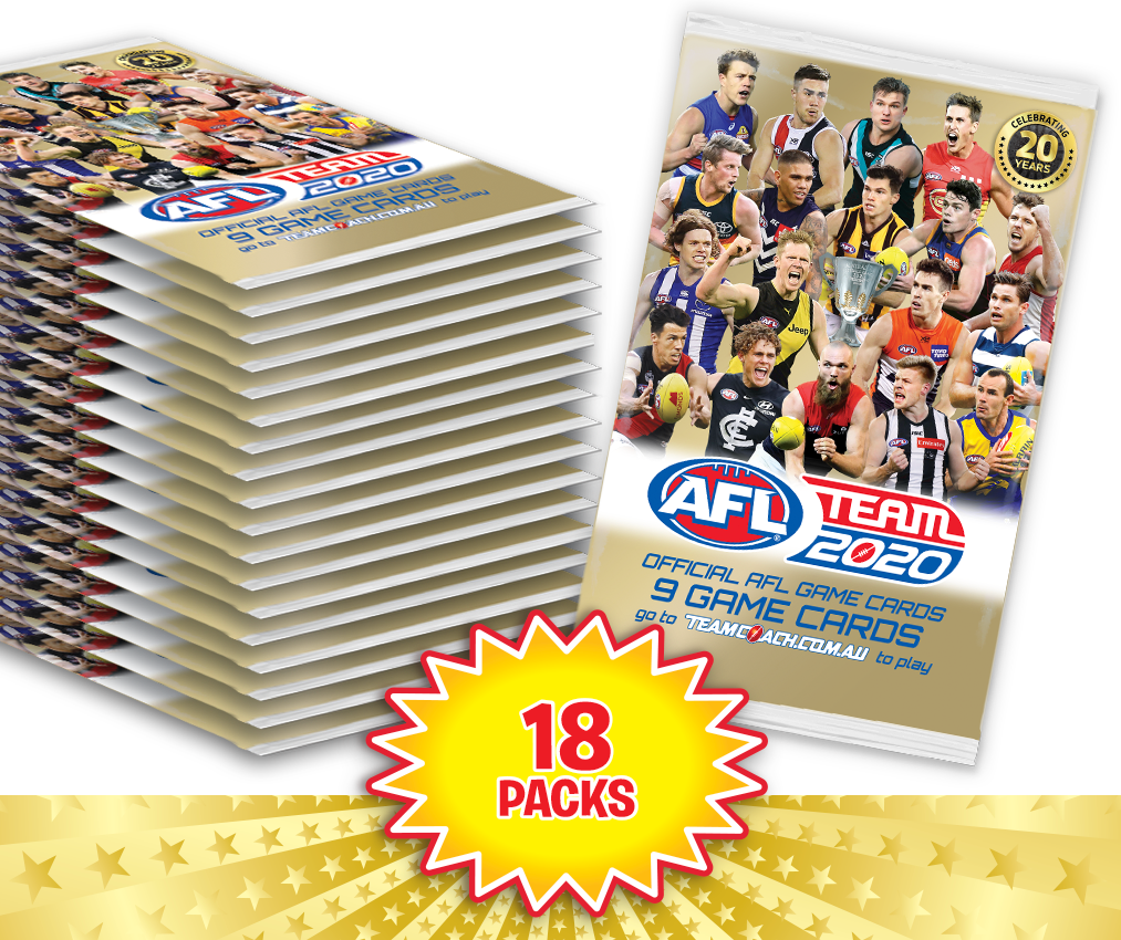 TEAMCOACH - AFL TEAM 2020 Footy Game Card Packs - 18 packs