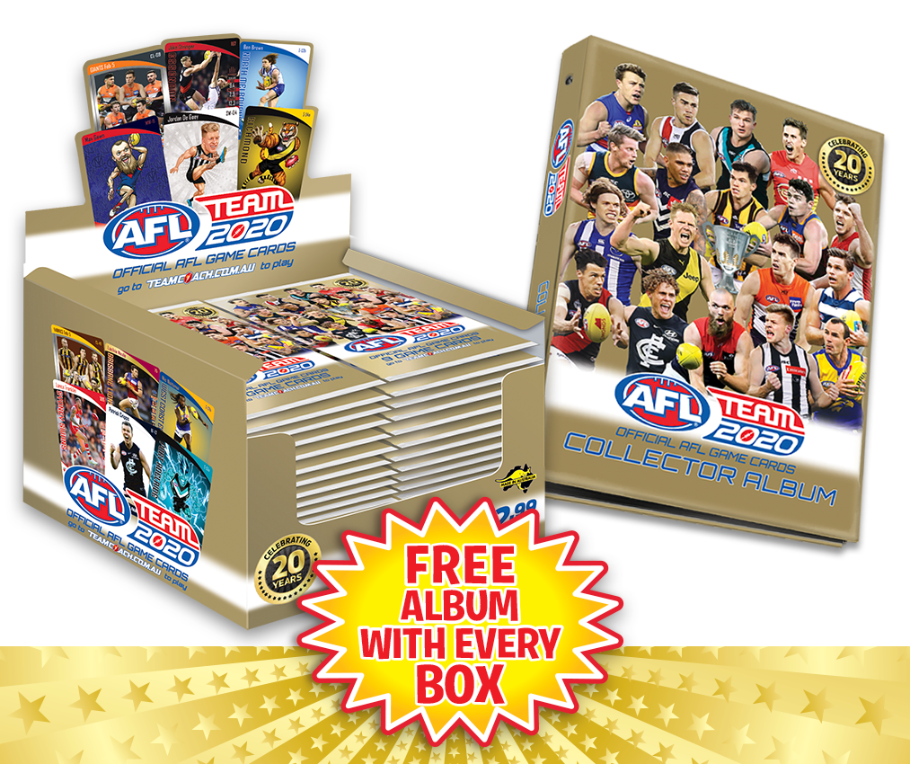 TEAMCOACH - AFL TEAM 2020 Box of Footy Game Cards + FREE Album
