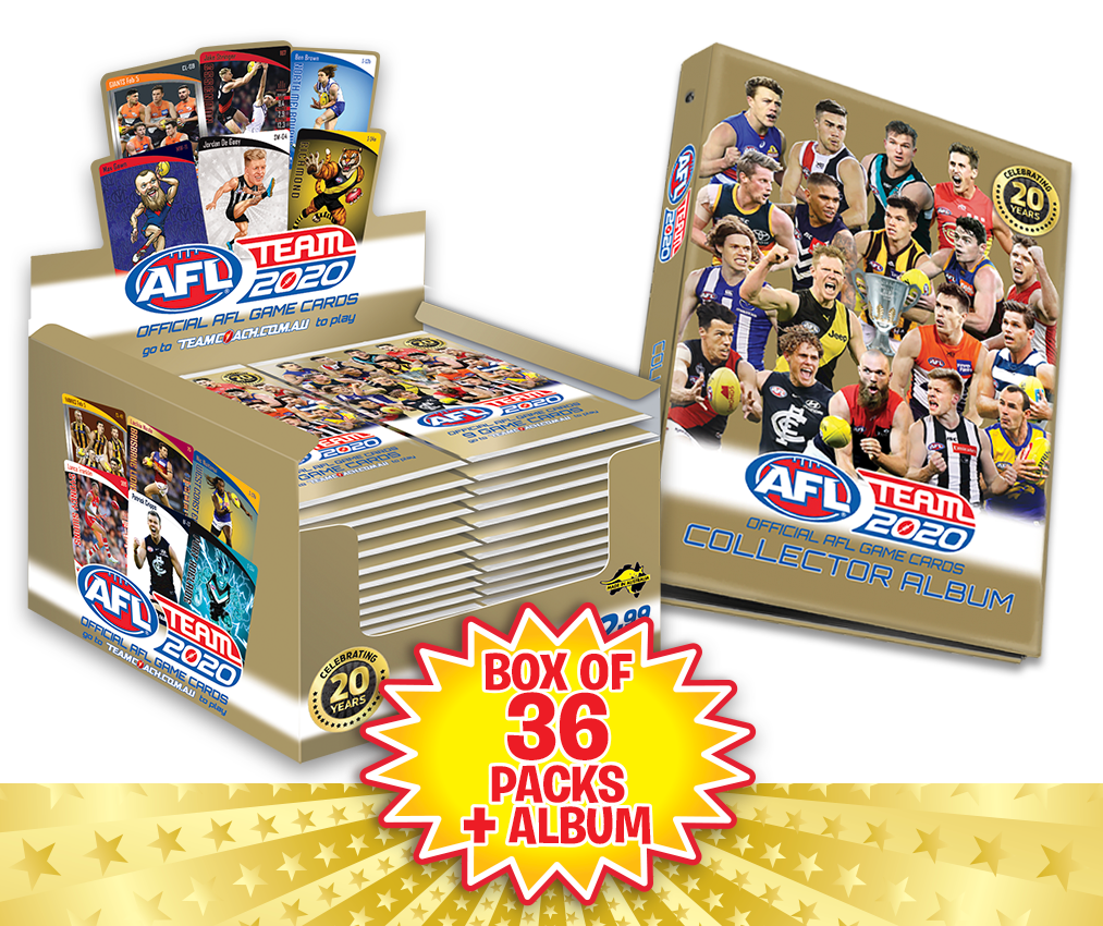 TEAMCOACH - AFL TEAM 2020 Box of Footy Game Cards + Collector Album