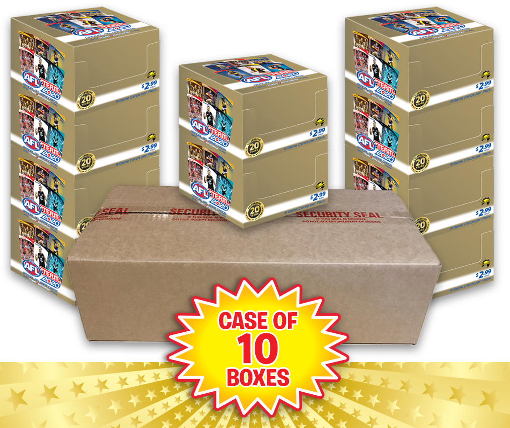 TEAMCOACH - AFL TEAM 2020 Case of 10 Boxes of Footy Game Card Packs - 360 packs