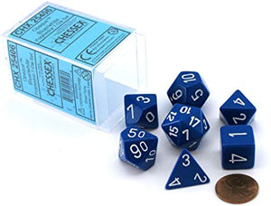 Borealis Blue Opaque Dice with White Numbers 16mm (5/8in) Set of 7 Dice