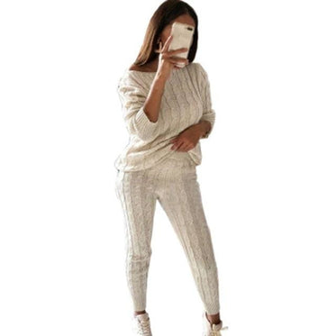 2 Piece Cotton Tracksuit - beige / Asian Size S / United