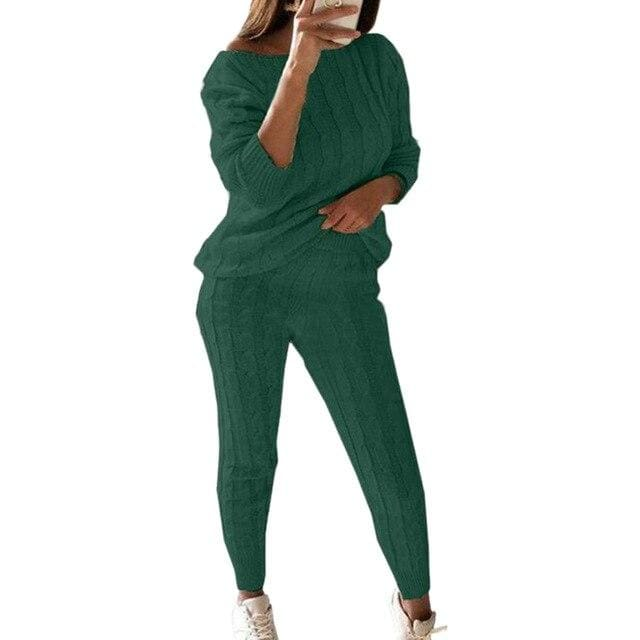2 Piece Cotton Tracksuit - green / Asian Size S / United