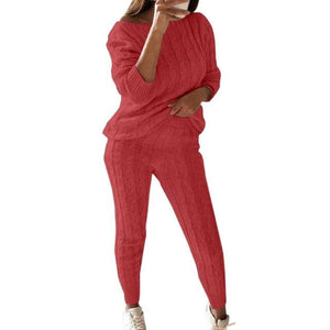 2 Piece Cotton Tracksuit - rose red / Asian Size L / United
