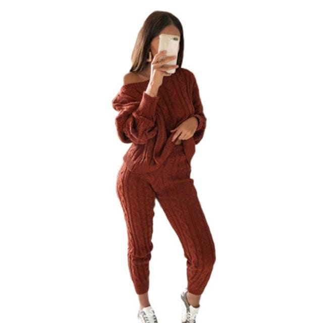2 Piece Cotton Tracksuit - wine red / Asian Size L / United