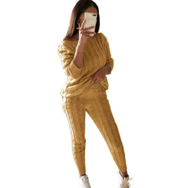 2 Piece Cotton Tracksuit - yellow / Asian Size S / United