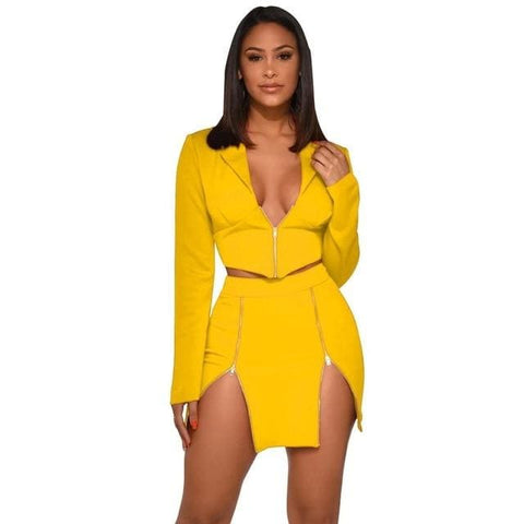 2 Piece Tracksuit Crop Top and Skirt Set - Yellow / S /