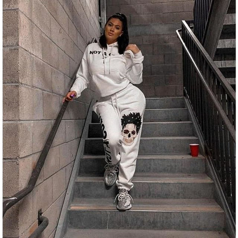 Autumn Sexy Hoodie Tracksuit - White / XXL / United States