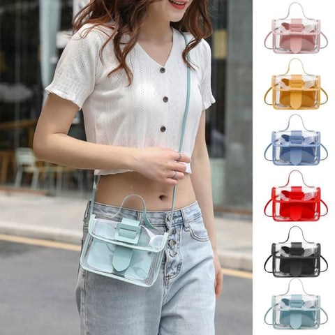 Clear square shoulder bag