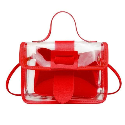 Clear square shoulder bag - Red / United States