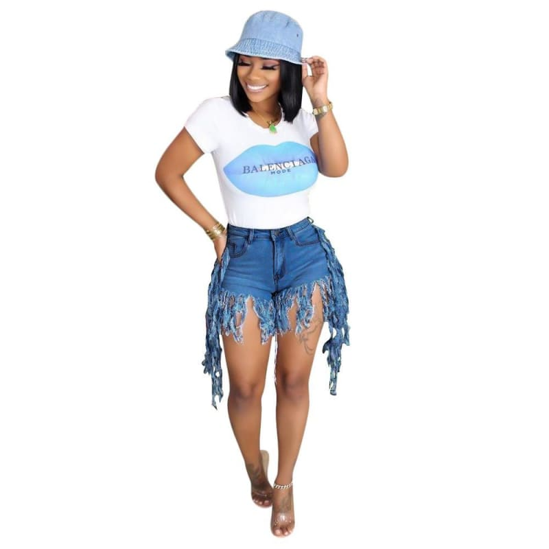 Fringe denim jeans shorts