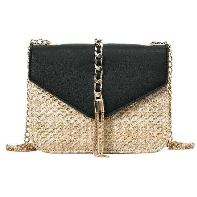 Fringed Straw Crossbody Bag - Black / United States