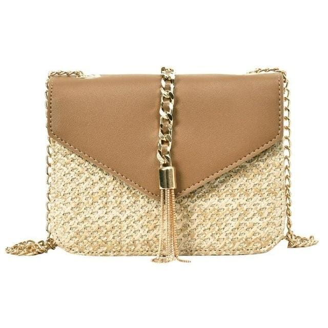 Fringed Straw Crossbody Bag - Brown / United States