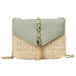 Fringed Straw Crossbody Bag - Green / United States