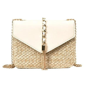 Fringed Straw Crossbody Bag - White / United States