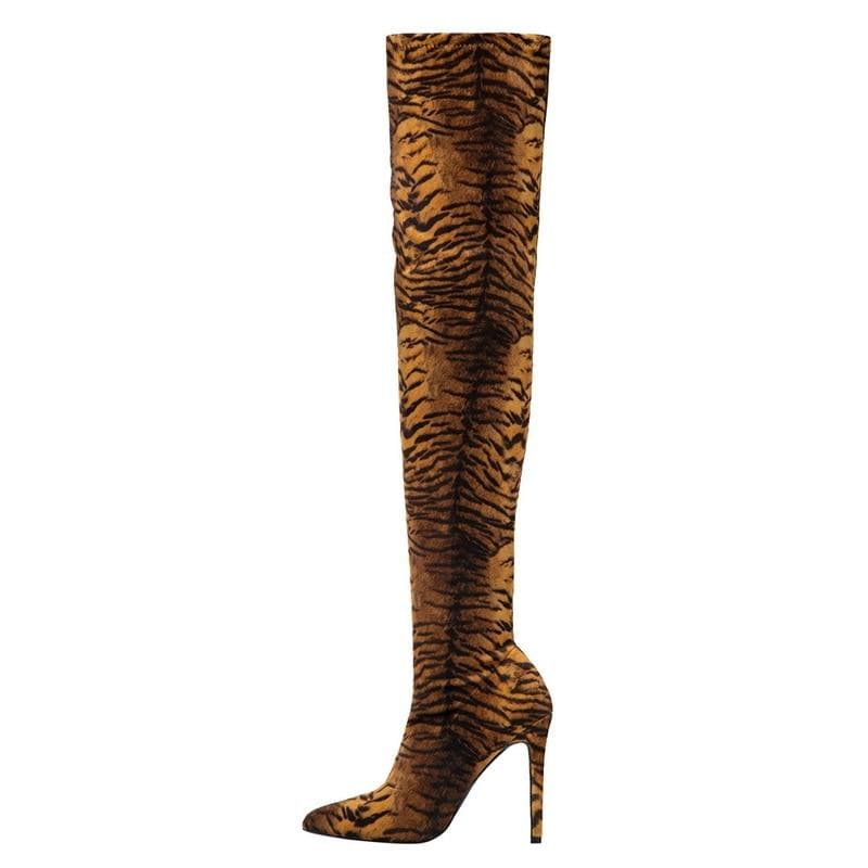 High Heel Design Boots (Boots Stretch) - Dark Leopard / 43 /