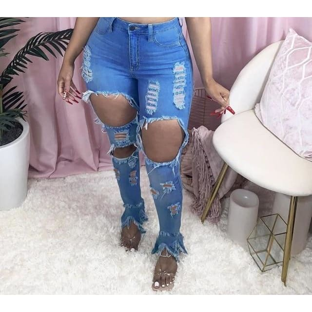 High waist bodycon denim ripped jeans - Blue / M / United