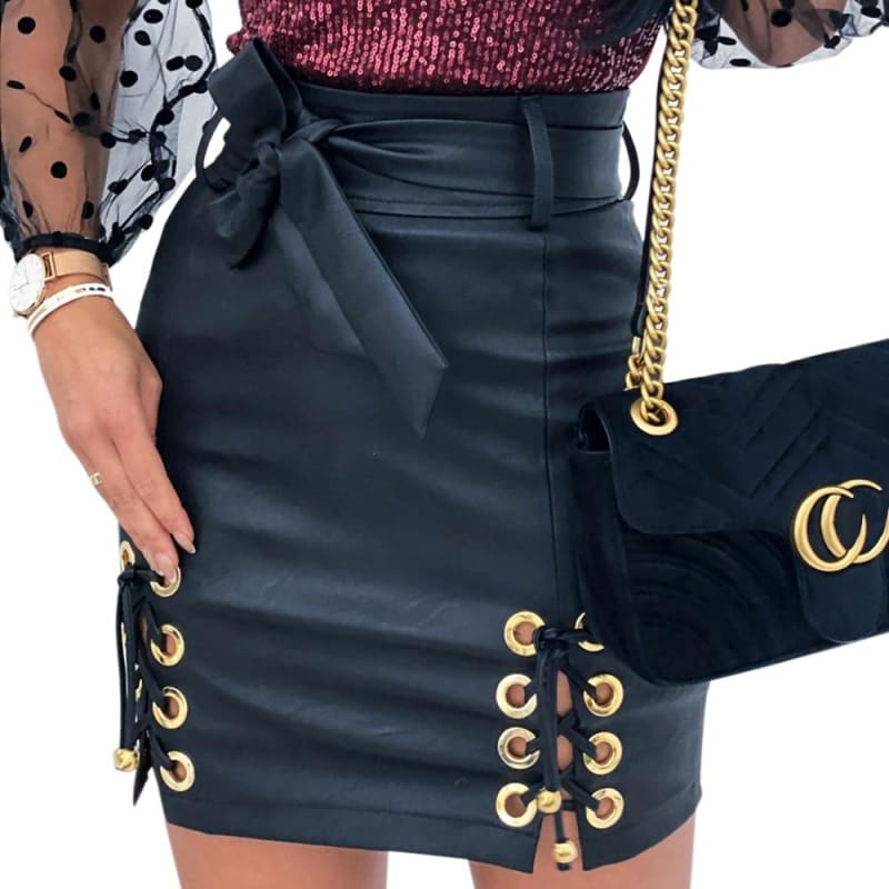 High Waist leather mini skirt