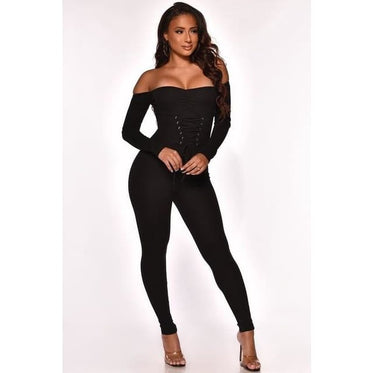 Knit Ribbed Lace Up Jumpsuit - Black / M / United States