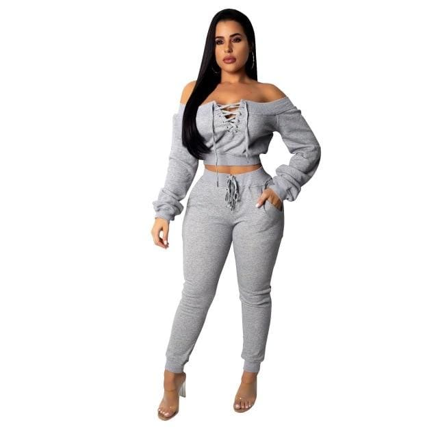 Long Sleeve 2 piece Love set - Gray / S / United States