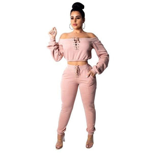Long Sleeve 2 piece Love set - Pink / S / United States