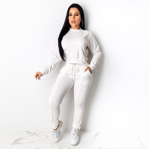 Long Sleeve 2 piece tracksuit - White / S / United States