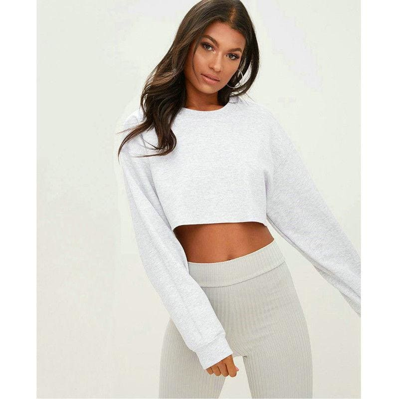 Long Sleeve Crop Top - White / L / United States