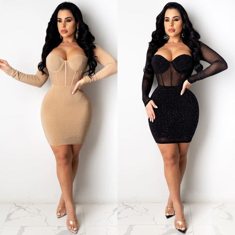 Long Sleeve Diamond Mini Dress