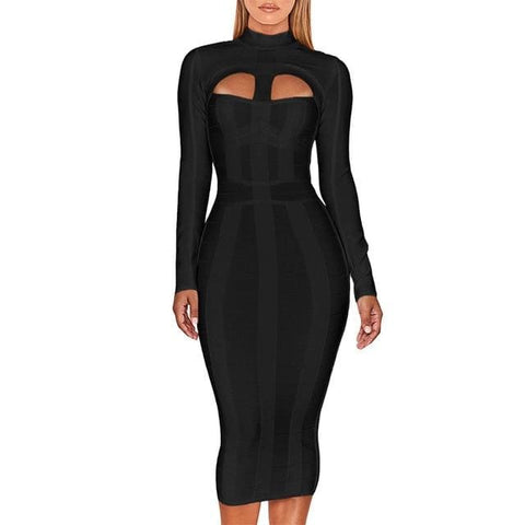 Long Sleeve High neck Bodycon Dress - Black / XL / China