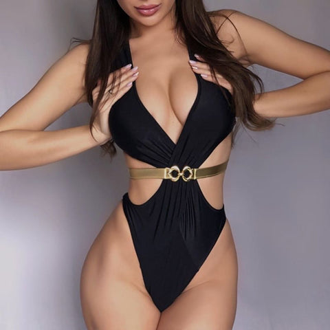 One Piece Push Up V-Neck Jumpsuit Bikini - S / United States