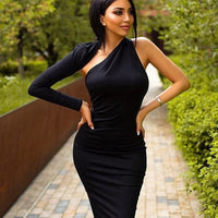 One Shoulder Bodycon Celebrity Dress - black / XS / China