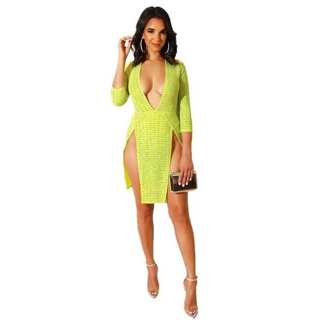 Sequins Bodycon Dress - green dress / S / United States